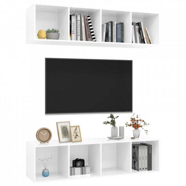 Wiszące szafki TV, 2 szt., wysoki połysk, białe, płyta wiórowa