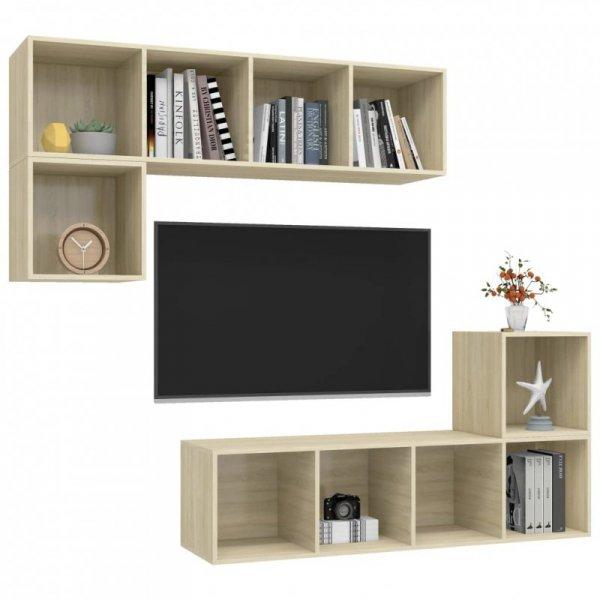 4-częściowy zestaw szafek TV, dąb sonoma, płyta wiórowa