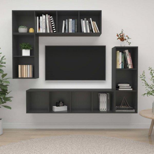 4-częściowy zestaw szafek TV, szary, płyta wiórowa