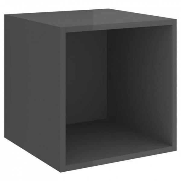 3-cz. zestaw szafek TV, wysoki połysk, szary, płyta wiórowa