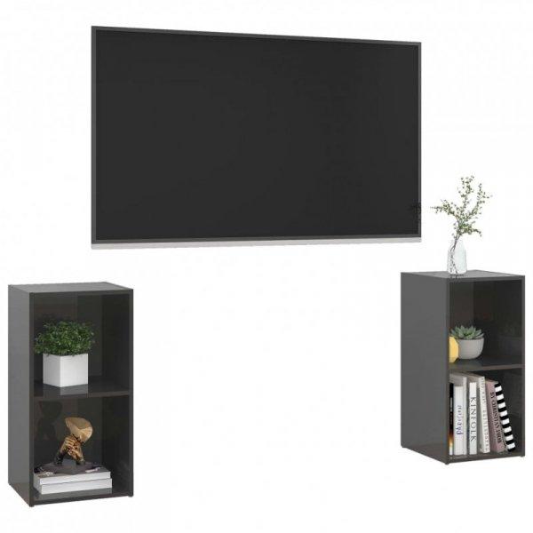 Szafki TV, 2 szt., szare, wysoki połysk, 72x35x36,5 cm, płyta