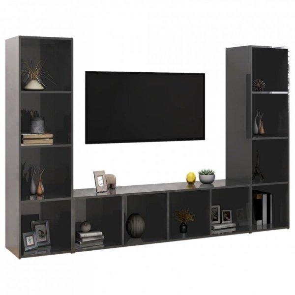 Szafki TV, 3 szt., szare, wysoki połysk, 142,5x35x36,5 cm