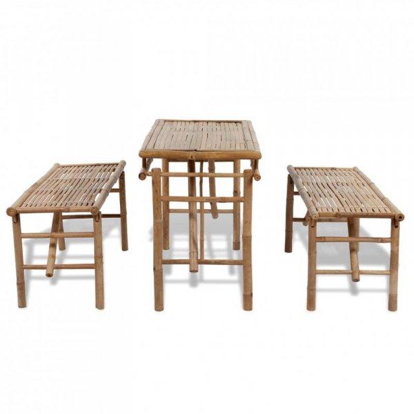Stół biesiadny z 2 ławkami, 100 cm, bambus