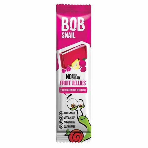 Przekąska Jellies gruszka-malina-burak bez dodatku cukru Bob Snail, 38g