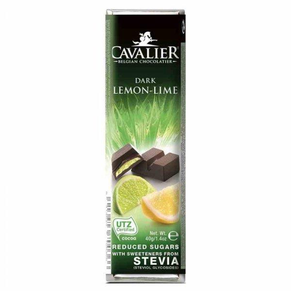 Baton z deserowej czekolady z nadzieniem cytrynowym i z limonką Cavalier, 40g