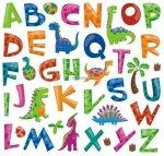 Naklejki literki - alfabet Dinozaury