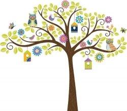 Naklejki Drzewo z Sowami XXL