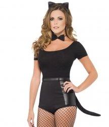 Opaska czarny kot - uszy, muszka i ogonek