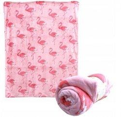 Pled Koc Kocyk pluszowy ZASKA Flamingi 160cm x120cm