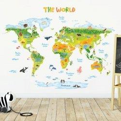 Duże Naklejki Animowana Kolorowa Mapa Świata