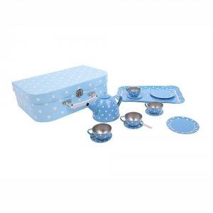 Niebieski zestaw do herbatki w walizce