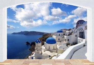 Panorama Santorini okno - fototapeta