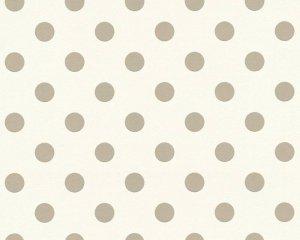Tapeta biała w szare kropki grochy 36934-1 winylowa na flizelinie