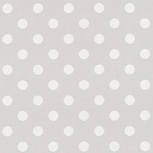 Tapeta szara w białe kropki grochy 36934-2 winylowa na flizelinie