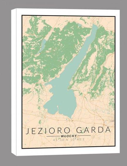 Jezioro Garda mapa kolorowa – obraz na płótnie