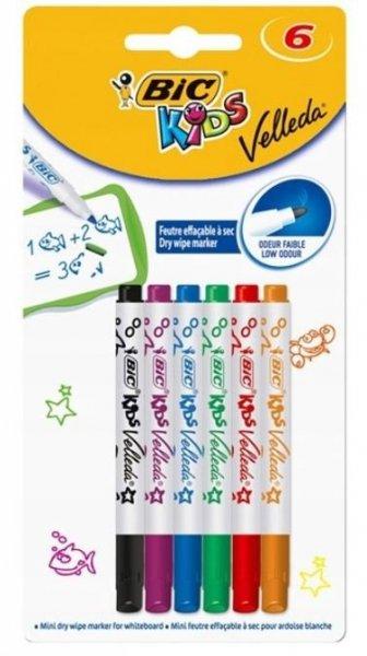 Markery do białej tablicy mini Bic Kids Velleda 6 kolorów