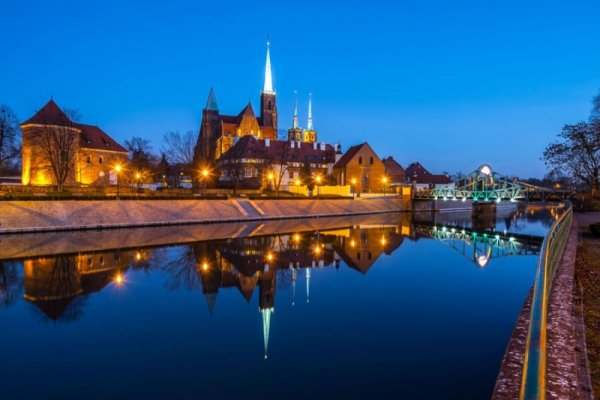 Wrocław, wieczorne widoki - plakat premium