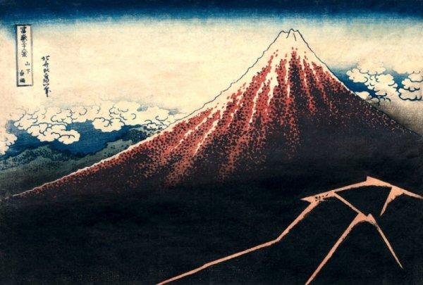 Hokusai, Rain Below the Mountain - plakat