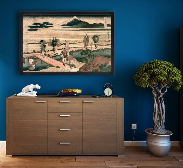 Hokusai, A View of Mount Fuji and Travellers by a Bridge - plakat