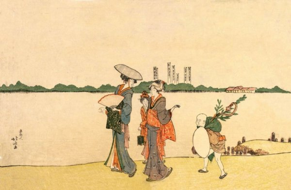 Hokusai, Women and Children Walking Along the Sumida River - plakat