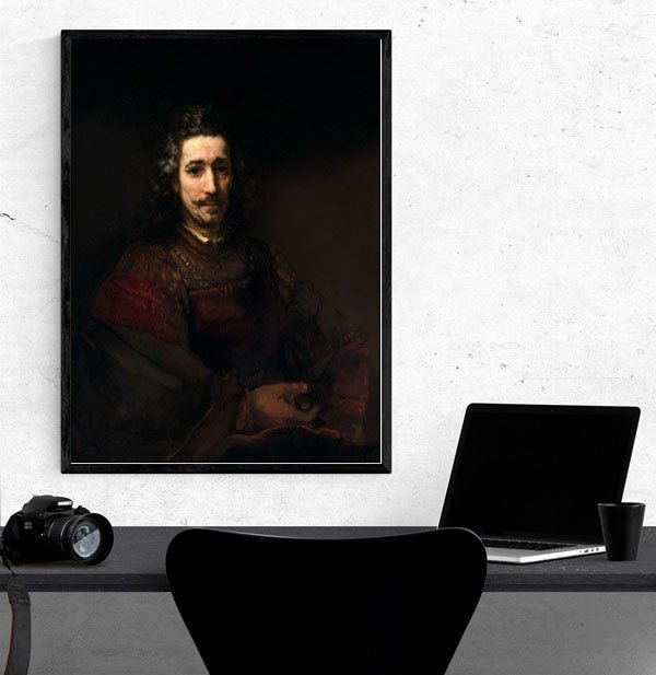Man with a Magnifying Glass, Rembrandt - plakat