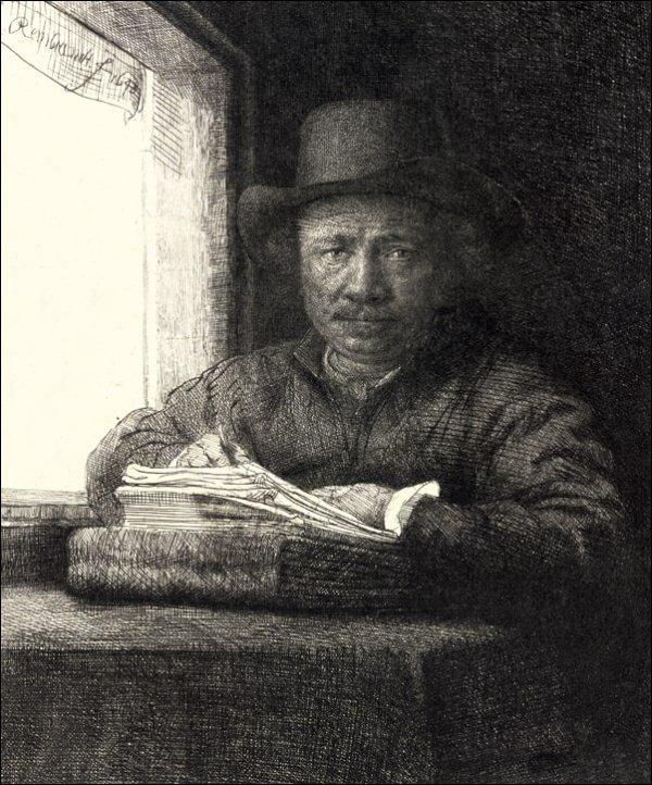 Self Portrait Drawing at a Window, Rembrandt - plakat