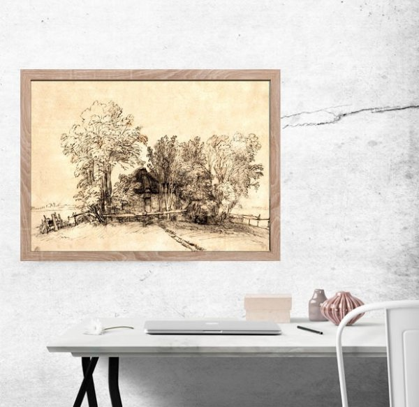 Cottage among Trees, Rembrandt - plakat