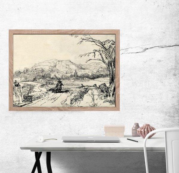 Landscape with Sportsman and Dog, Rembrandt - plakat