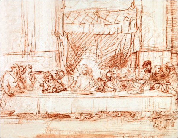 The Last Supper, after Leonardo da Vinci, Rembrandt - plakat