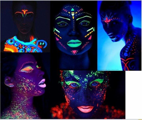 Kredki do twarzy i ciała NEON UV zestaw Intense
