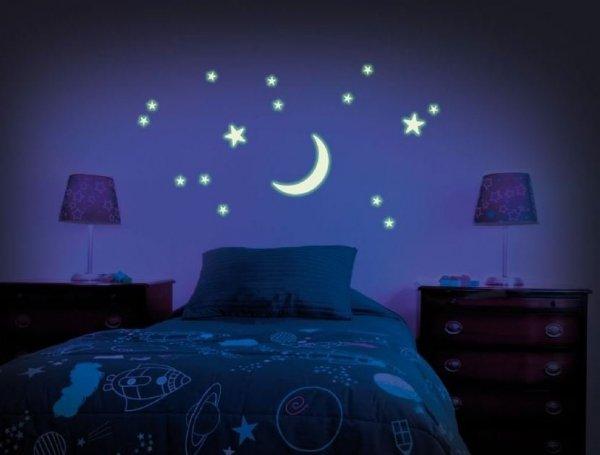 Plastikowe Gwiazdki i księżyc GLOW