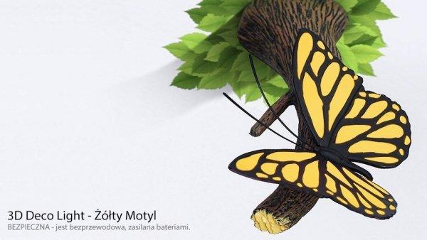 Lampka nocna Żółty Motyl 3D Deco Light