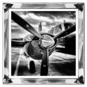 Reprodukcja w szklanej lustrzanej ramie śmigło samolotu