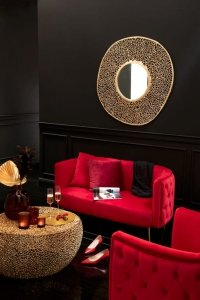Stolik kawowy złoty ażurowy metalowy glamour