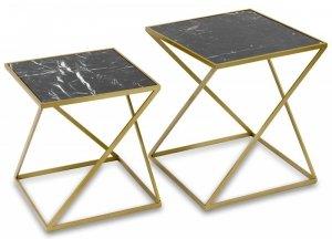 Komplet 2 stolików pomocniczych postarzane złoto blat imitacja marmuru