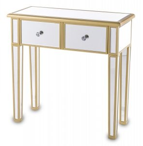 Przepiękna konsola konsolka drewniano szklana ze złotymi zdobieniami