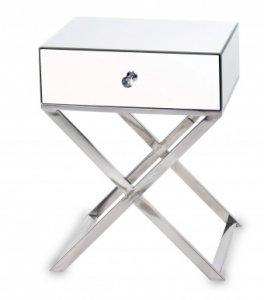 Stolik konsolka na krzyżaku z szufladką.