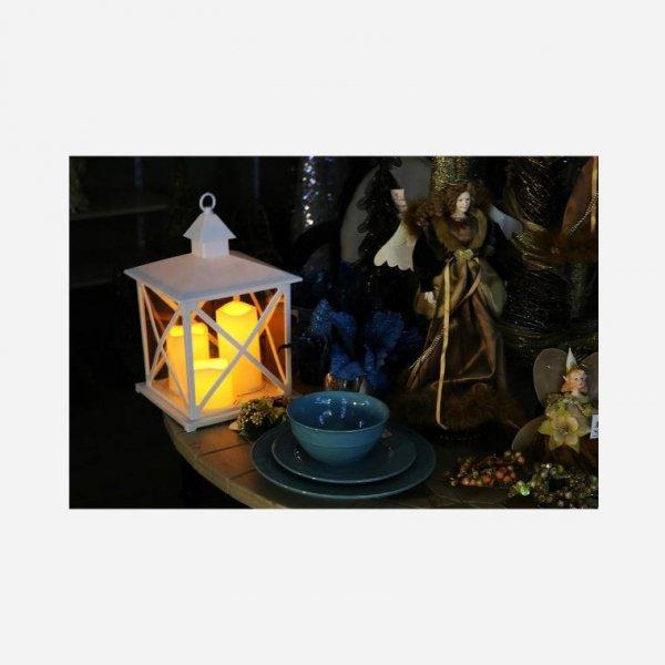 LAMPION LATARNIA ŚWIECZNIK DEKORACYJNA + 3 ŚWIECZKI LED