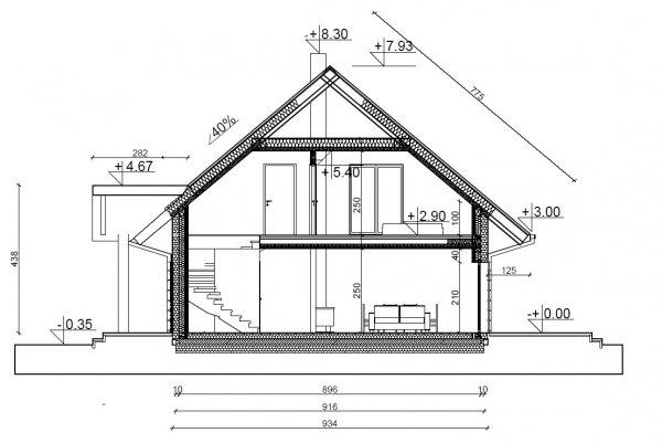 Projekt domu prefabrykowanego - Dom Aleksandra (wersja lustrzanego odbicia)