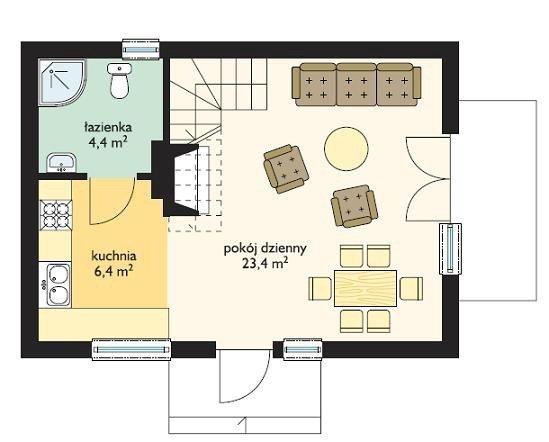 Projekt domu Sosenka pow.netto 53,67 m2