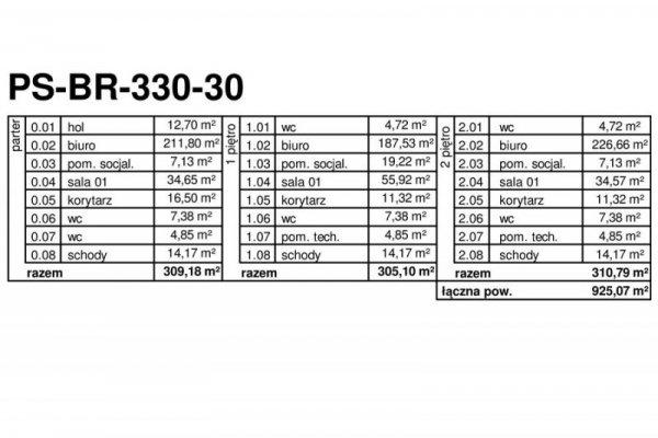 Projekt biurowca PS-BP-330-30 o pow. 925,07 m2