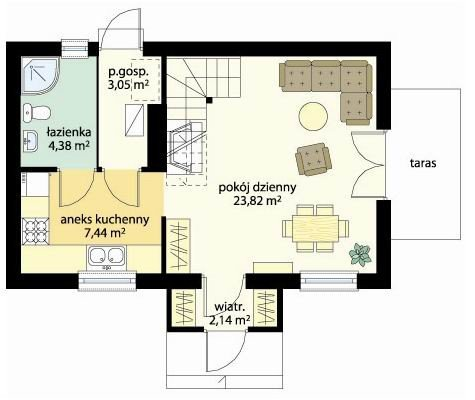 Projekt domu Sosenka III pow.netto 63,51 m2