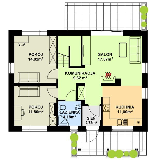 Projekt domu TK55 pow.netto 141,62 m2
