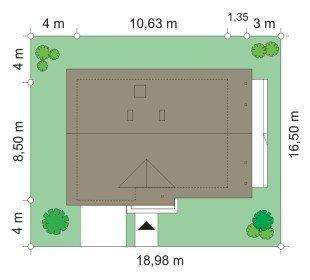 Projekt domu Wisełka pow.netto 109,85 m2