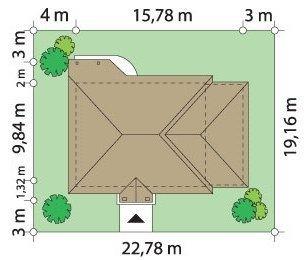 Projekt domu Cztery kąty II pow.netto 109,54 m2