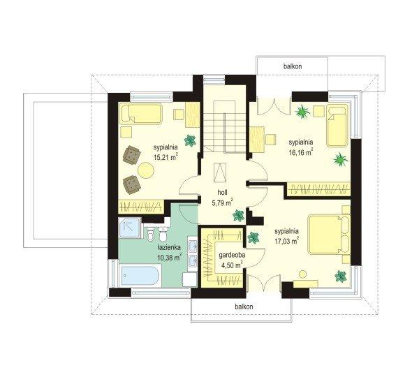 Projekt domu Nieduży pow.netto 139,91 m2