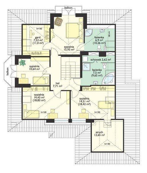 Projekt domu Hornówek II pow.netto 211,59 m2