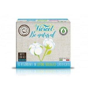 VIVICOT BE NATURAL Podpaski NA NOC ze skrzydełkami niebielone chlorem z CERTYFIKOWANEJ bawełny organicznej 10 sztuk
