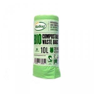 BioBag Worki na odpady organiczne i zmieszane w 100% biodegradowalne i kompostowalne 10L rolka 20 sztuk z banderolą