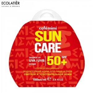 Przeciwsłoneczny krem do twarzy i ciała SPF+50 Do skóry jasnej i wrażliwej, 100ml - CAFE MIMI